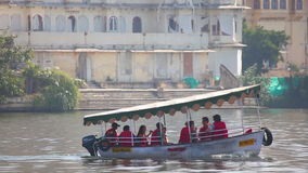 Boat on lake. Boat floats on the lake. Udaipur, India stock footage