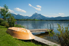 Boat at the lake Hopfensee Stock Image