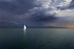 Boat on Lake Leman. Switzerland. Sunset Royalty Free Stock Photography