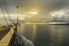 Boat on Lake Leman. Switzerland. Sunset Stock Photography