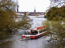 Boat on the lake. Boat on Malaren lake, Stockholm stock image