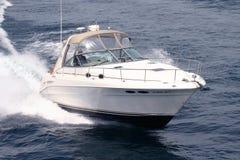 Boat Lake Michigan. Cruiser at full power on a calm day on lake Michigan Stock Photo