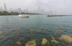 Boat on Lake Michigan with Chicago Skyline Royalty Free Stock Image
