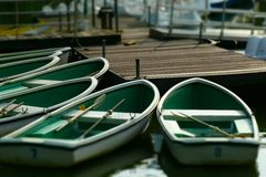 Boat on lake. It same kayak boat but too short stock photography