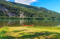 Boat on lake Mjosa in Norway. Red boat on lake Mjosa in Norway Stock Image