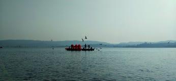 Boat on lake stock photos