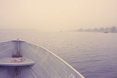 Boat on the Lake in the Morning stock photography