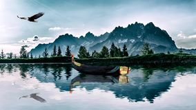 Boat, lake, mountains and an eagle stock illustration
