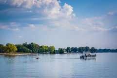 Boat in Lake Norman, seen from Jetton Park, in Cornelius, North Royalty Free Stock Photo