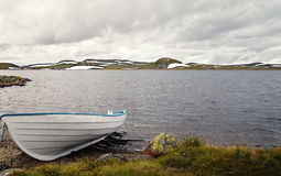 Boat on a Lake in Norway Stock Photo