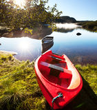 Boat on lake. In Norway Stock Images