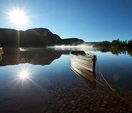 Boat on lake. In Norway Stock Photography
