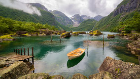 Boat in a lake, Norway Royalty Free Stock Photo