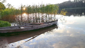 Boat on lake stock video