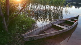 Boat on lake stock video footage