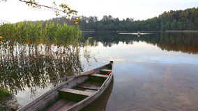 Boat on lake stock footage