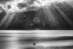 Boat on the lake. Boat sailling on the lake Royalty Free Stock Photography