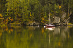 Boat Lake of Segl Switzerland Royalty Free Stock Photo