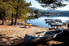 Boat on lake. In Siera Nevada,California Stock Images