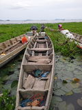 Boat on Lake,Songkha. Them rest on port near temple Stock Photos