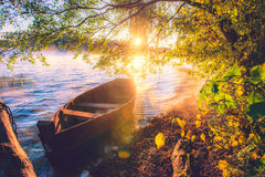 Boat in lake, sunrise. Lake at dawn, wooden boat under the tree, soft sunrise light stock photo