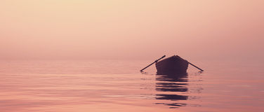 A boat on the lake. At sunset. This is a 3d render illustration Royalty Free Stock Photo