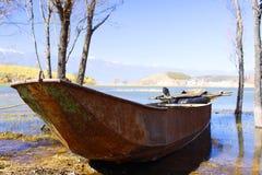 Fishing Boat, Iron ship stranding in wetland park in Erhai lake Stock Images