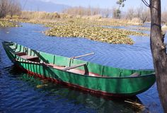 Green Fisher Boat old boat on the lake in wetland park Stock Photo
