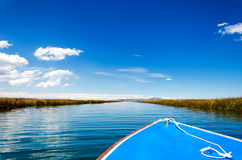 Boat on Lake Titicaca. Front of a boat passing through a canal on Lake Titicaca in Peru Royalty Free Stock Image