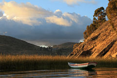 Boat on lake Titicaca, Island of the sun Stock Photo