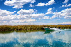 Boat on Lake Titicaca. Boat passing through the canals on Lake Titicaca in Peur Stock Image