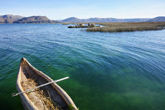 Boat on Lake Titicaca. A traditional reed boat on Lake Titicaca, Peru Stock Image