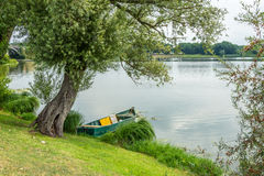 Boat on the lake under a tree. A boat on the lake under a tree Royalty Free Stock Images