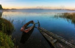 Boat on the lake. Vepsky forest. Leningrad oblast. Russia Stock Photo