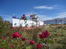 Boat at the lakeside titicaca in roses royalty free stock images
