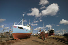 Boat on Land. Fishing Boats on land in Gilleleje, Denmark Stock Photo