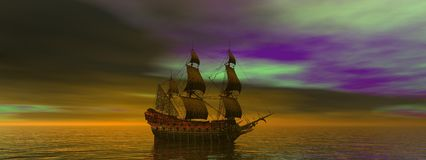 Boat and landscape. Boat and sky green and purple Royalty Free Stock Photo