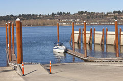 Boat launch pads and steel poles Oregon state parks. Stock Photo