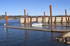 Boat launch pads and steel poles OR. Stock Photos
