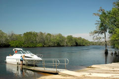 Boat Launch Suwannee. A family gets ready to launch at New Clay Landing near Manatee Springs, Florida Stock Photo