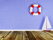 The boat and the lifebuoy Royalty Free Stock Photo