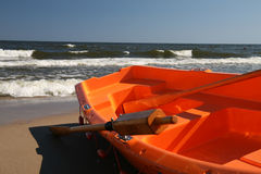 Boat for lifeguard. Lifeguard, boat on the beach Stock Images