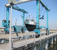 Boat lift. On the warf Stock Image