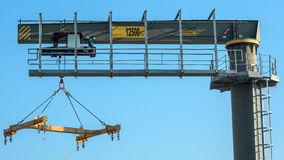 Boat lift crane. Ready to lift Stock Images
