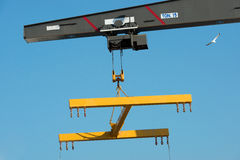 Boat lift crane. Crane to enter the sea in small boats Royalty Free Stock Images