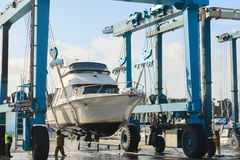 Boat lift out of the water Stock Images