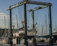 Boat  lift out of the water Royalty Free Stock Images