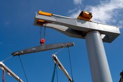 Boat lifter crane horizontal image Royalty Free Stock Photos