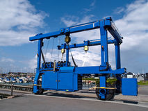 Boat lifter crane. In a marina ready for work Royalty Free Stock Photos