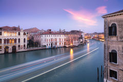 Boat light trails on Grand Canal in Venice at dusk Stock Image